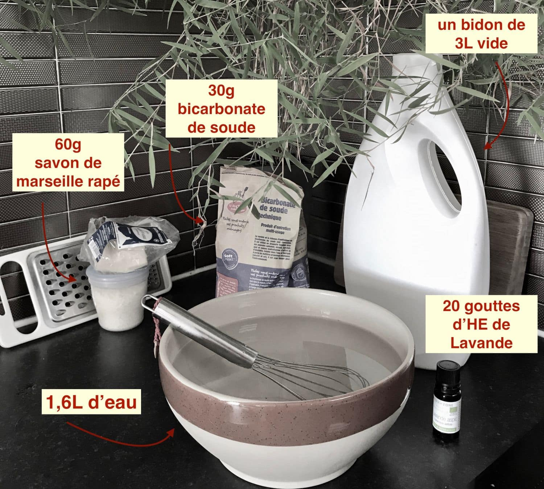 ingrédients recette lessive faite maison